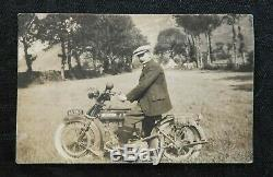 1910s BSA Commode Moto Carte Postale avec / Rider Indien Harley Davidson