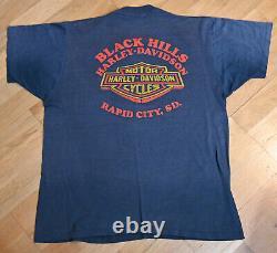 1980's Harley Davidson Vintage Moto Bouclier 3D Emblème T-shirt XL Super Fade