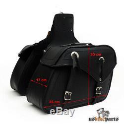 2 pcs sacoches cuir véritable noir Harley-Davidson bags custom motos