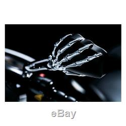 2 retro viseur moto chrome mirror harley bobber chopper custom skelete skull NR