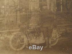 Antique Militaire Moto Harley Davidson Caporal Sims Driver Américain Photo