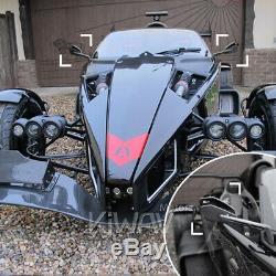 Ash gris moto rétroviseurs CNC aluminum Cleaver look pour Harley-Davidson