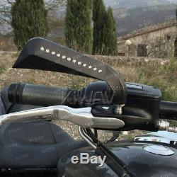 Axe rétroviseurs noir convex clignotants intégrés pour Harley-Davidson moto