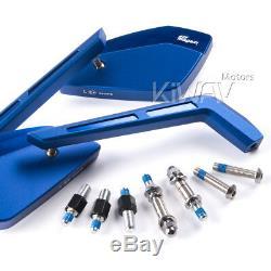 Bleu moto rétroviseurs Cleaver style pour Harley-Davidson SOFTAIL FAT BOY LO