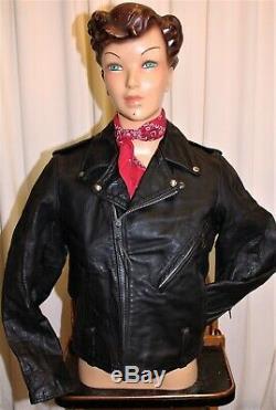Blouson cuir moto Perfecto femme HARLEY DAVIDSON vintage 70's noir taille S