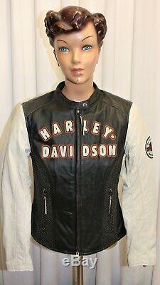 Blouson cuir moto femme HARLEY DAVIDSON cuir noir et crème taille S