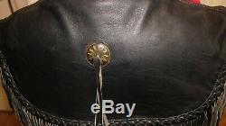 Blouson cuir vintage HARLEY DAVIDSON WILLIE G à franges noir Taille 42 US (44cm)