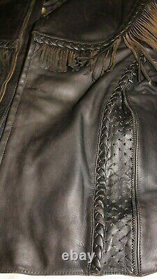 Blouson cuir vintage HARLEY DAVIDSON WILLIE G à franges noir taille 48 US (54cm)