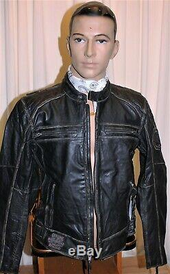 Blouson moto HARLEY DAVIDSON CUIR DE BISON NEUF noir taille L