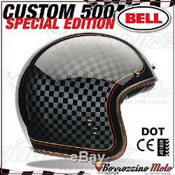 CASQUE BELL CUSTOM 500 JET MOTO VINTAGE CHOPPER HARLEY DAVIDSON RSD CHECKIT L