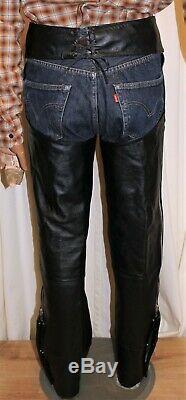 Chaps cuir homme HARLEY DAVIDSON jambières cowboy moto noir taille 40 à 44
