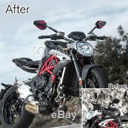 Convex rétroviseur Achilles noir + rouge réglable pour KTM Moto Guzzi MV Agusta