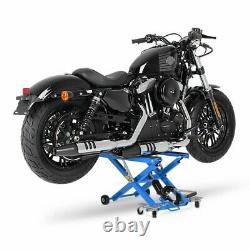 Cric Moto á Ciseaux XL pour Harley Davidson Street 500 bleu Lève Hydraulique