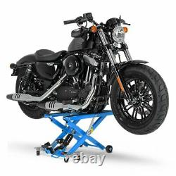 Cric Moto á Ciseaux XL pour Harley Davidson Street-Rod bleu Lève Hydraulique