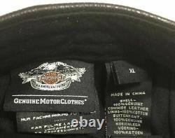 Cuir Casquette Moto Harley Davidson Insignia Noir L-XL 7 3/8- 7 5/8 Pas Worn