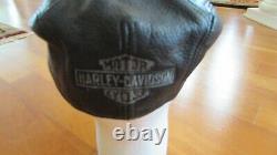 Cuir Casquette Moto Harley Davidson Insignia Noir M 7 1/8 7 1/4 Pas Worn