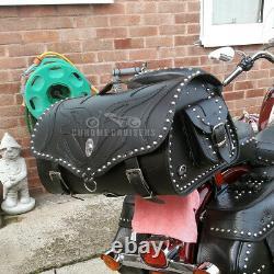 Cuir Moto Arrière Sac Haut Étui Sacoche Panier Trike VW Harley Davidson