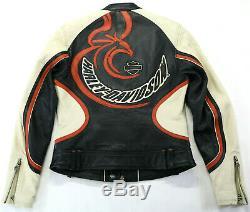 Femmes Harley Davidson Cuir Veste M Stylet 97120-07VW Noir Crème Orange Barre