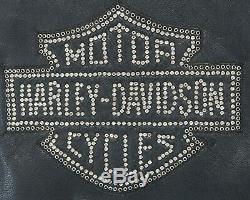 Femmes Harley Davidson Cuir Veste XL Cycle Diva Noir Cristaux 98121-08VW