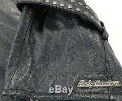 Femmes Harley Davidson Veste Cuir 2XL Noir Ceinture Double Boutonnière Clouté
