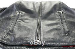 Femmes Harley Davidson Veste Cuir 2xl Noir à Carreaux Barre Bouclier Zip Souple