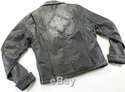 Femmes Harley Davidson Veste Cuir L Noir Clous Clouté Double Boutonnage Barre