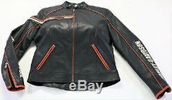 Femmes Harley Davidson Veste Cuir L Noir Element 97121-07VW Eau Résistant