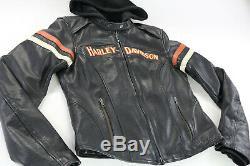 Femmes Harley Davidson Veste Cuir S Miss Enthousiaste Noir Orange Barre Bouclier