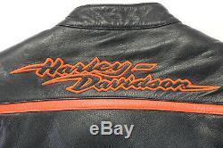 Femmes Harley Davidson Veste Cuir S Noir Orange en Relief Barre Armure Poches