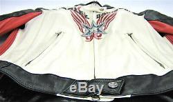 Femmes Harley Davidson Veste Cuir S Rapide Ville Noir Rouge Blanc Crème Zip BAR