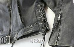 Femmes Harley Davidson Veste Cuir XL Noir Délavé Corral Aigle en Relief