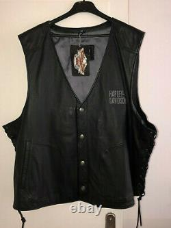 Gilet cuir noir HARLEY DAVIDSON 97046 08VM taille 3XL NEUF ETIQUETTE