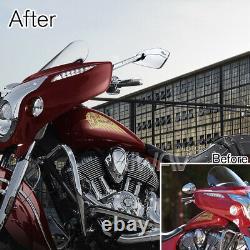 Grand bleu moto rétroviseur CNC Cleaver look pour Harley-Davidson softail deluxe