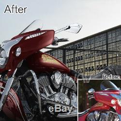 Grand navy bleu moto rétroviseurs CNC aluminum Cleaver look pour Harley-Davidson