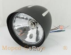 Harley Chopper Moto Phares Noir Coupe de Contraste 130mm E-Geprüfft Neuf