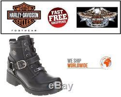 Harley-Davidson D84424 Femmes Tegan 10.2cm à Lacet Cuir Noir Bottes de Moto