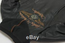 Harley Davidson Femmes 110th Anniversaire Noir Veste Cuir 1W 97148-13VW Rare