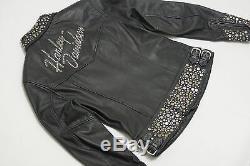 Harley Davidson Femmes Bling Argent Clous Métal Veste Cuir 97036-05VW S