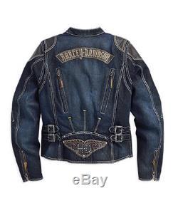Harley-Davidson Femmes Veste de moto JEANS Textile 97115-16VWith000L Taille L