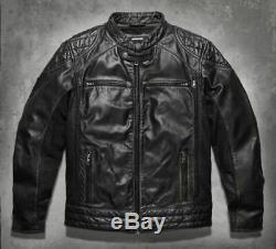 Harley Davidson Homme Label Noir #1 Cuir Vieilli Veste 98113-16VM L Neuf
