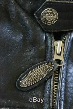 Harley Davidson Homme Original Vintage 27.4ms V-Twin Veste Cuir Patchs L Rare