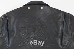 Harley Davidson Homme Original Vintage en Relief Aigle Veste Cuir 44 L Rare