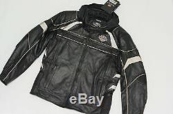 Harley Davidson Hommes Médaillon Réfléchissant Noir Veste Cuir M L 2XL