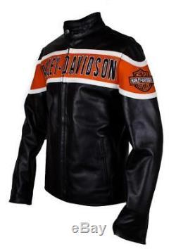 Harley Davidson Hommes Motard Veste de Cuir Authentique Victory Lane Veste Moto