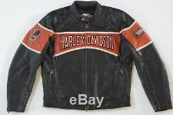 Harley Davidson Hommes Moteur de Course Oarnge Rayure Veste Cuir L 98018-10VM
