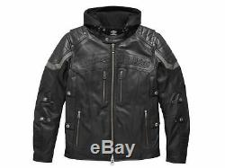 Harley Davidson Hommes Payton Réflectif Noir Veste Cuir 3 en 1 L 2XL 97166-17VM