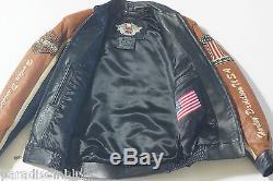 Harley Davidson Hommes Prestige Cuir USA Fabriqué Veste Barre & Bouclier