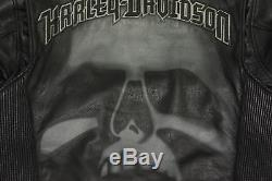 Harley Davidson Hommes Rushmore Crâne Noir Veste Cuir L Réfléchissant 97188-10VM