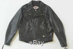 Harley Davidson Hommes USA Fabriqué Indépendance Cuir Noir Veste B&S L