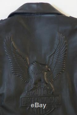 Harley Davidson Hommes Vintage Cruiser en Relief Aigle Métal Badge Cuir Veste M